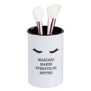 Home Basics Ceramic Cosmetic Cup Make Up Brush Cylinder Shaped Utensil Holder, Mascara - Multi-Color