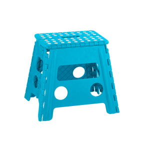 Home Basics Large Plastic Folding Stool with Non-Slip Dots, Blue - Blue