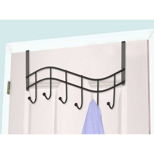 Wave 6  Hook Over the Door Organizing Rack, Black Onyx