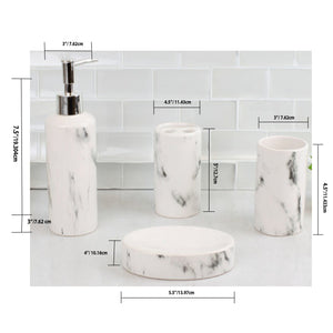 Marble Ceramic 4 Piece Bath Accessory Set, White