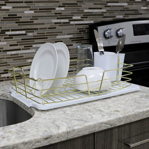 Michael Graves Design Deluxe Dish Rack with Gold Finish Wire and Removable Dual Compartment Utensil Holder, White/Gold