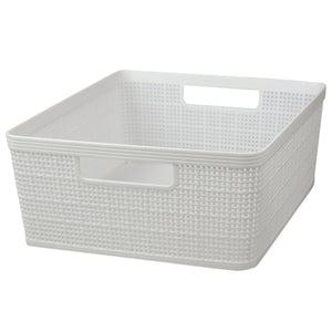 Home Basics Trellis Large Plastic Storage Basket with Cut-Out Handles, White - White