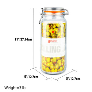 67.5 oz. Glass Pickling Jar with Wire Bail Lid and Rubber Seal Gasket