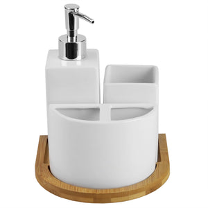 Serene Scandinavian 4 Piece Ceramic Bath Accessory Set with Bamboo Tray, White