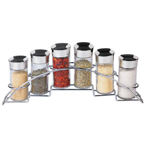 Ultra Sleek Half Moon Steel Seasoning and Herbs Organizing Spice Rack with 6 Empty Glass Spice Jars, Chrome