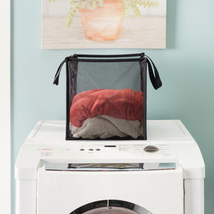 Home Basics Breathable Micro Mesh Collapsible Laundry Cube with Handles