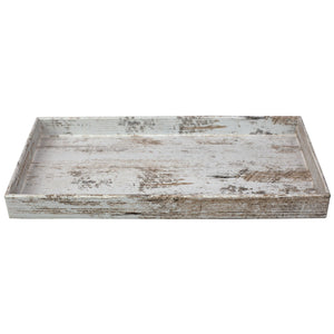 Antique Wood Look Farmhouse Rustic Vintage Plastic Nesting Decorative Vanity Tray, White