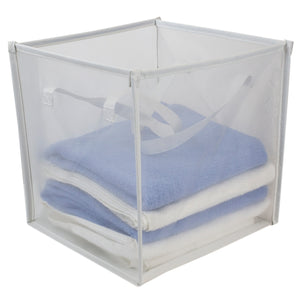 Home Basics Breathable Micro Mesh Collapsible Laundry Cube with Handles, White - White