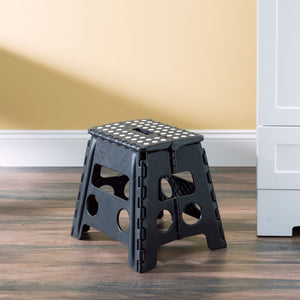 Large Foldable Plastic Stool with Non-Slip Dots, Black