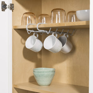 Under the Shelf  Vinyl Coated Steel 6 Hook  Mug Rack, Silver