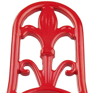 Cast Iron Fleur De Lis Spoon Rest, Red