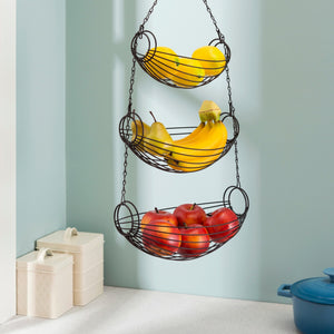 3-Tier Black Oval Hanging Basket
