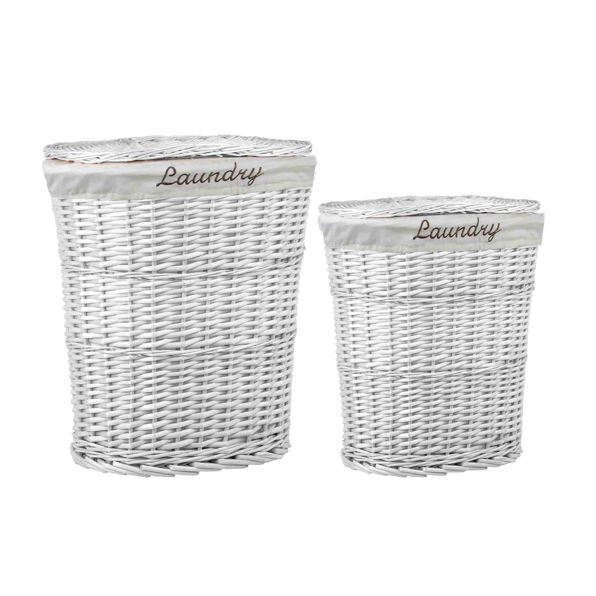 2 Piece  Wicker Hamper with Liner, White