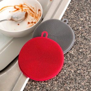 Gentle Clean  Multi-Purpose Kitchen Double Sided Silicone Scrubbers with Hanging Loop, (Pack of 2), Multi Color