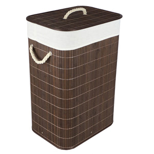 Rectangular Bamboo Hamper, Brown