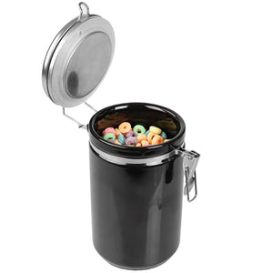 45 oz. Canister with Stainless Steel Top,  Black