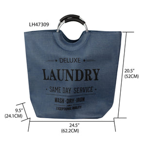 Deluxe Laundry Canvas Hamper Tote with Soft Grip Handles, Navy