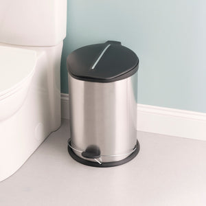 20 Liter Brushed Stainless Steel  with Plastic Top Waste Bin, Silver