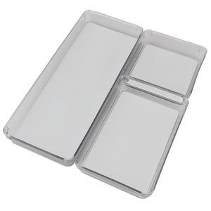 Three Compartment Multi-Purpose Storage 3 Piece Rubber-Lined Plastic Drawer Organizer Set, Grey