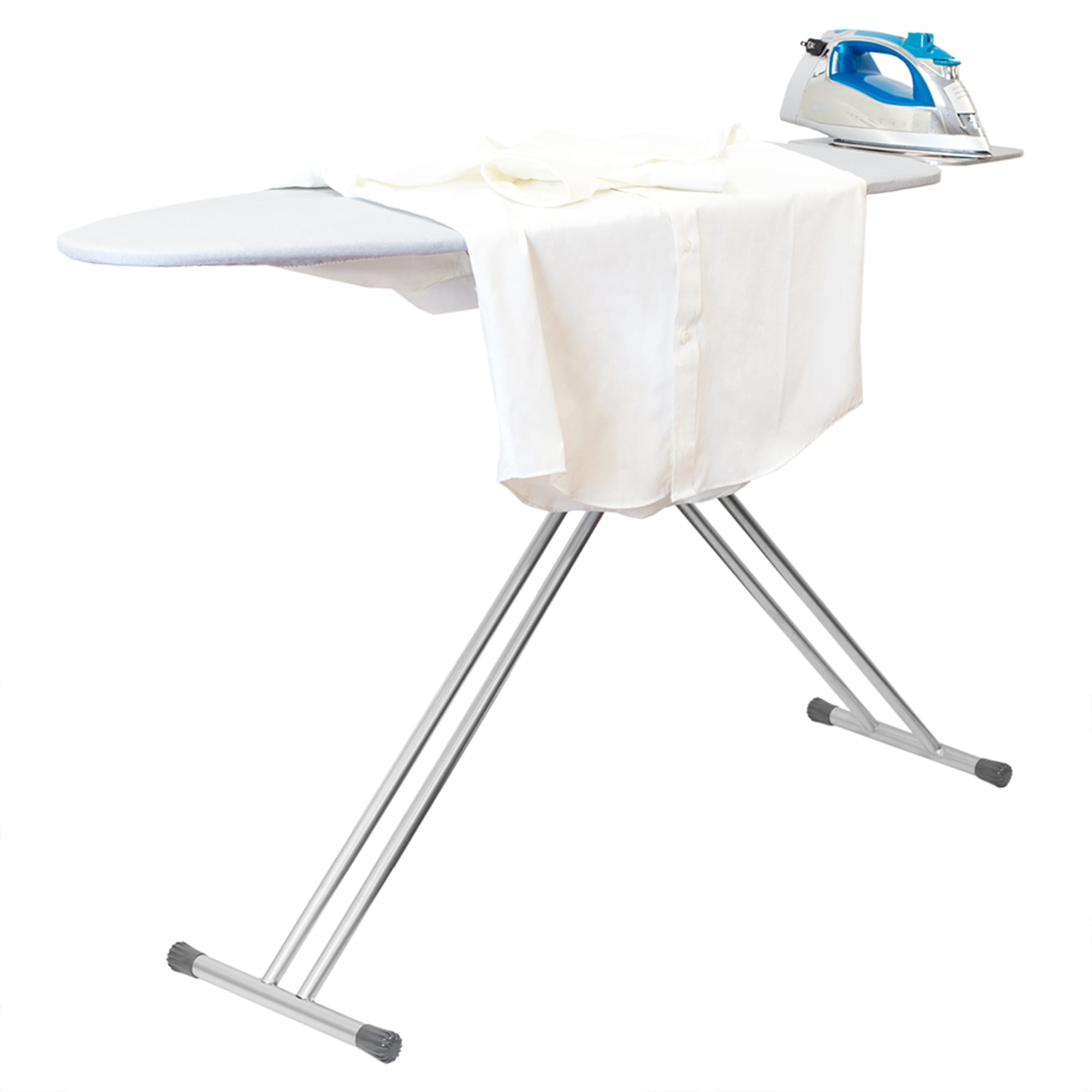 T-Leg Ironing Board with Iron Rest and Machine Washable Cotton Cover