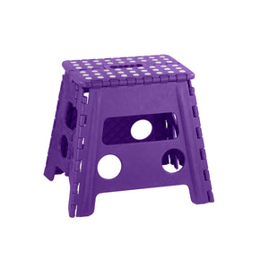 Home Basics Large Plastic Folding Stool with Non-Slip Dots, Purple - Purple