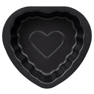 Home Basics Non-Stick Quick Release Steel Mini Bakeware Pan, Heart - Black