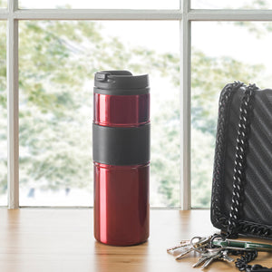 Home Basics Stainless Steel Travel Mug with Rubber Grip - Red