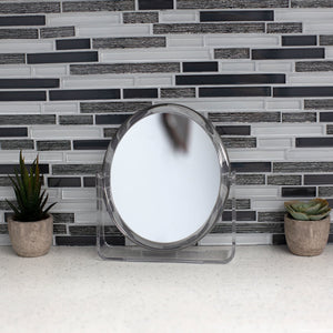 Double Sided Tabletop and Countertop Mirror with Transparent Plastic Frame, Clear