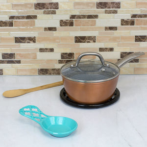 Lattice Collection Cast Iron Spoon Rest, Turquoise