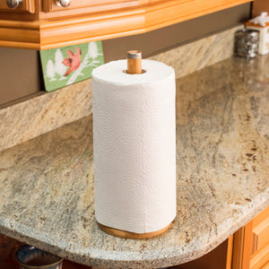 Bamboo Paper Towel Holder with Stainless Steel Finial