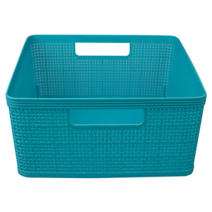 Home Basics Trellis Large Plastic Storage Basket with Cut-Out Handles, Turquoise - Turquoise