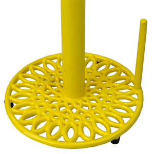 Sunflower Free-Standing Cast Iron Paper Towel Holder with Dispensing Side Bar, Yellow