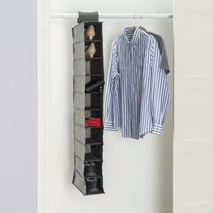 600D Polyester 10 Shelf Closet Organizer, Grey