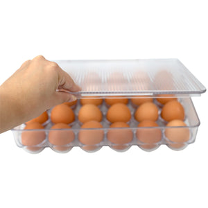 Michael Graves Design Stackable 24 Compartment Plastic Egg Container with Lid, Clear