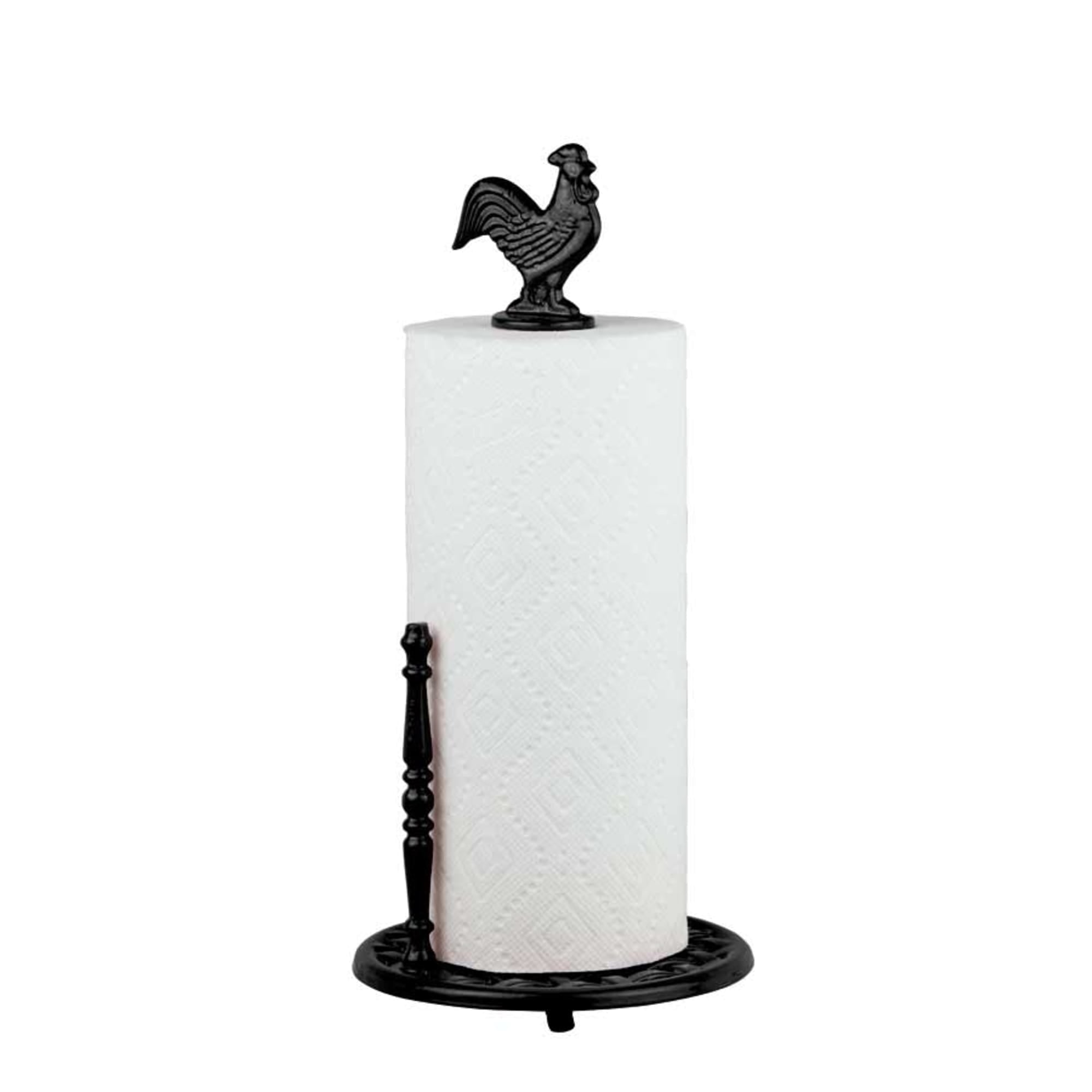Cast Iron Rooster Paper Towel Holder, Black