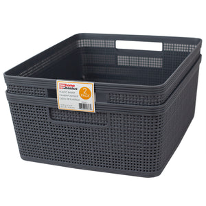 "Home Basics Trellis 13.5"""" x 11.25"""" x 5.25"""" Multi-Purpose Stackable Plastic Storage Basket, (Pack of 2), Grey - Grey"