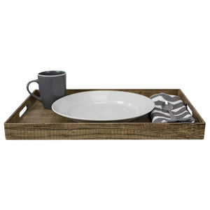 Wood-Like Rustic Serving Tray with Cut-Out Handles, Brown