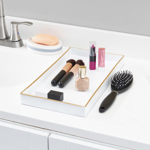White Plastic Vanity Tray with Gold Trim