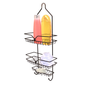 Classic 2 Shelf Shower Caddy with Bottom Hooks and Center Soap Dish Tray, Bronze