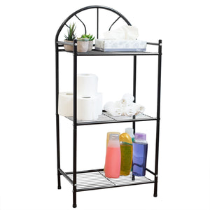 3 Tier Enamel Coated Steel Multi-Purpose Bath Storage Shelf, Black