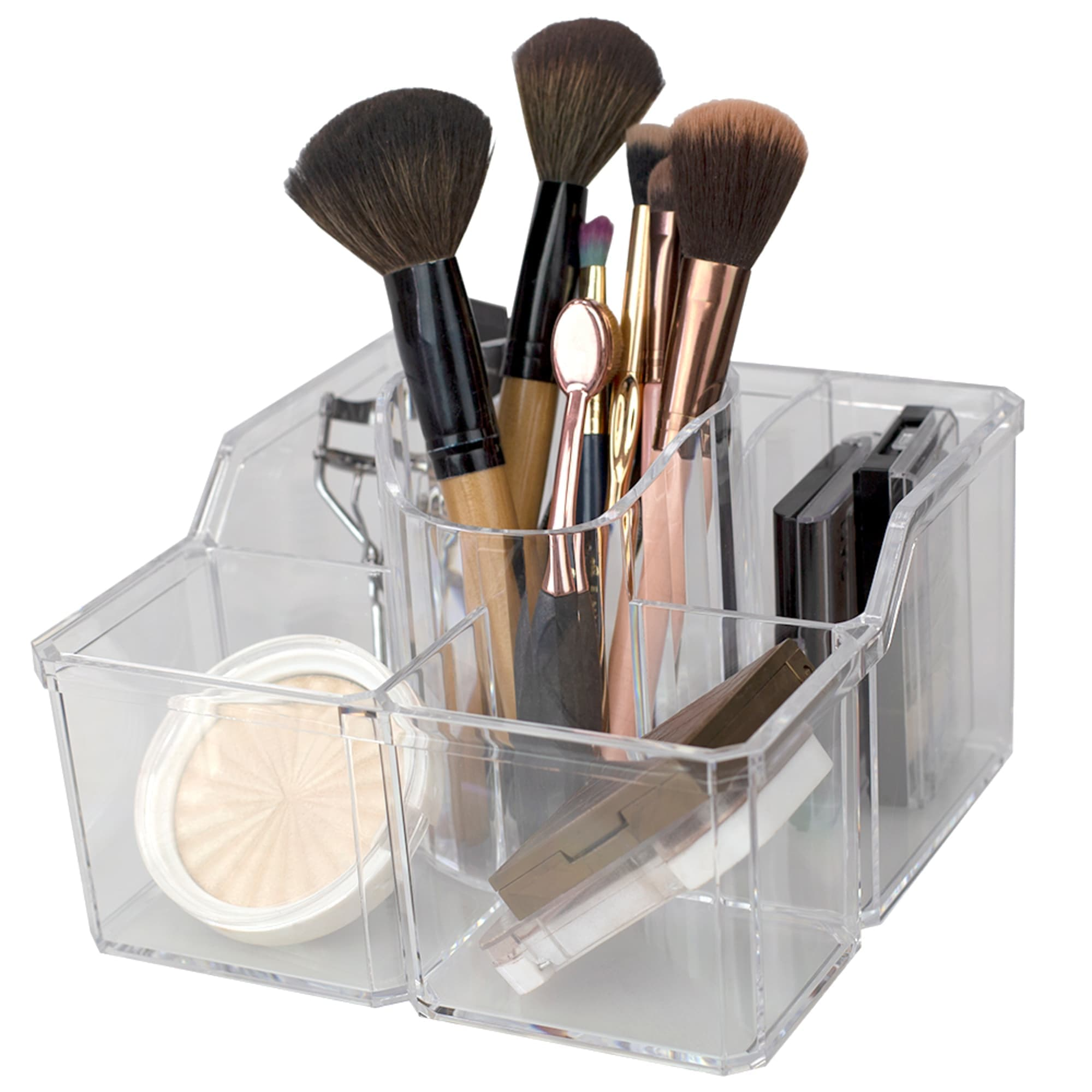 4 Divided Compartment Extra Large Capacity Makeup Cosmetic Holder Storage Organizer, Clear