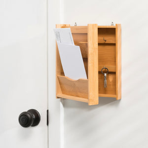 Bamboo Letter Rack with Key Box, Natural