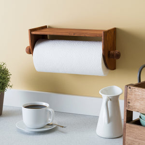 Quick Install Rustic Pine Wood Wall Mounted Paper Towel Holder with Flat Top, Brown