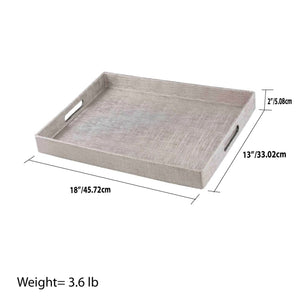Metallic Weave Serving Tray with Cut-Out Handles, Silver