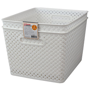 "Home Basics Triple Woven 14"" x 11.75"" x 8.75"" Multi-Purpose Stackable Plastic Storage Basket, (Pack of 2), White - White"