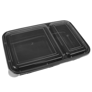 Home Basic 10 Piece 2 Compartment BPA-Free Plastic Meal Prep Containers, Black