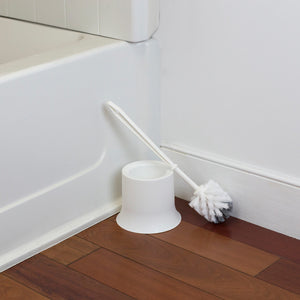 Plastic Toilet Brush with Compact Holder, White