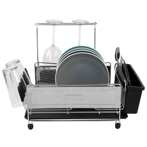 Michael Graves Design Deluxe Extra Large Capacity Stainless Steel Dish Rack with Wine Glass Holder, Black