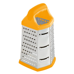 Home Basics Stainless Steel 6 Sided Cheese Grater - Orange