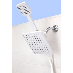Hydrospa Luxe Dual  Function Handheld Shower Massager with Extra Wide Rainfall Shower Head and 5 ft Tangle-Free Hose, White